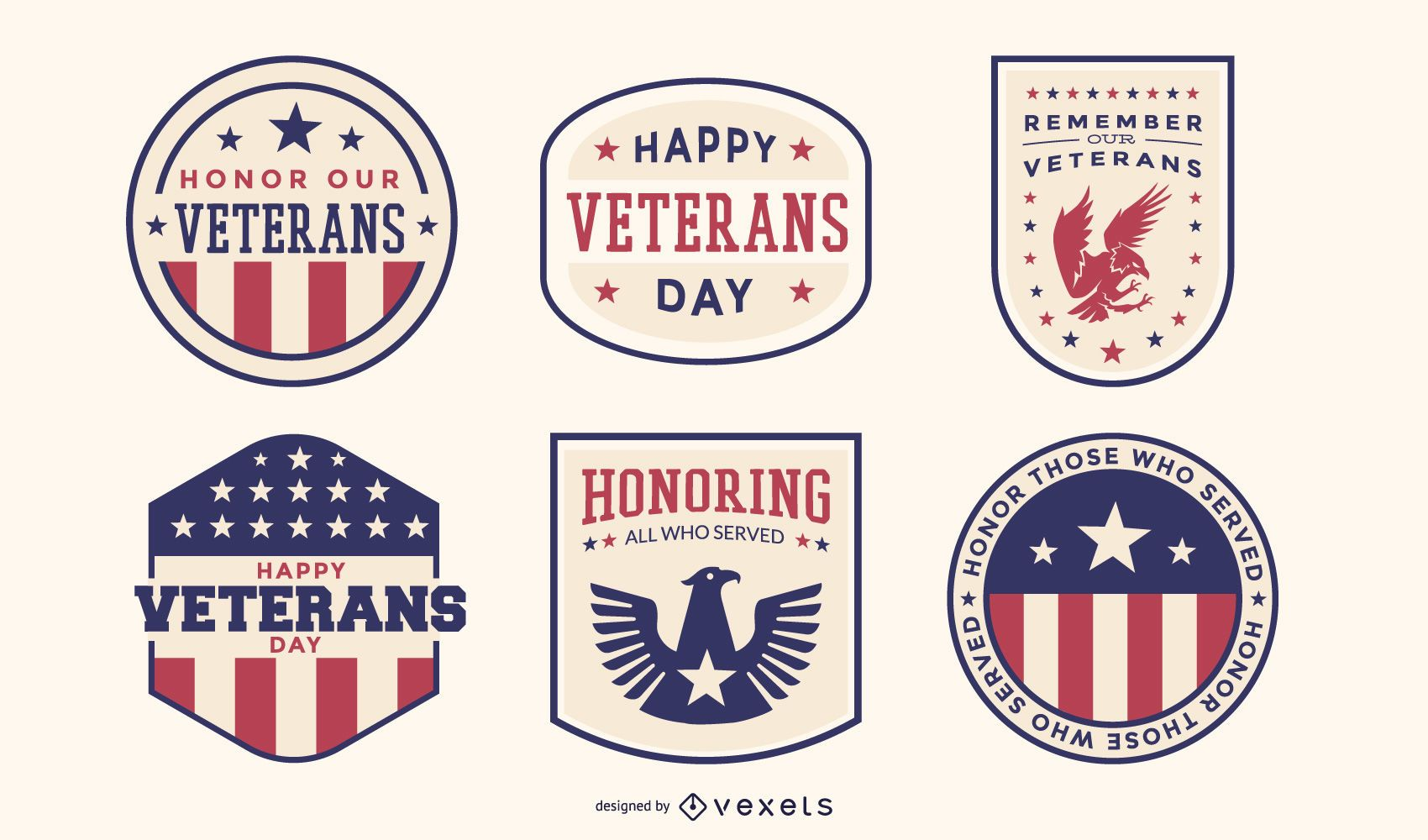 Pacote de crachás do dia dos veteranos