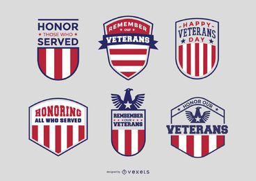 Pacote de crachás de veteranos