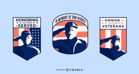 Conjunto de distintivo de dia dos veteranos