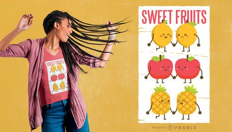 Design de t-shirt de frutas doces