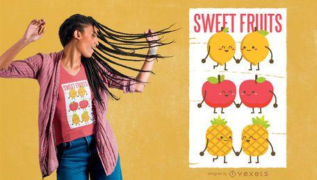 Diseño de camiseta de frutas dulces