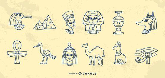 Coleção de traços de elementos do Egito