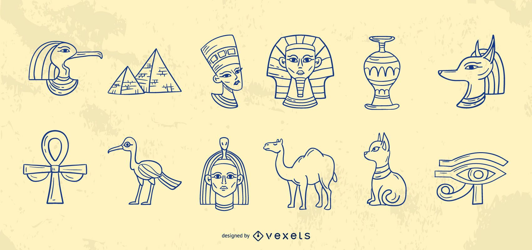 Colección de trazos de elementos de egipto