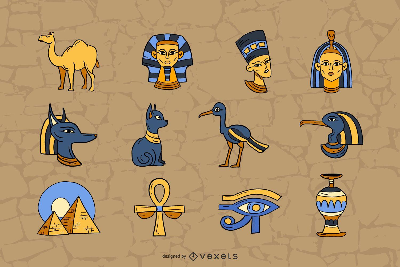 Colección de ilustraciones de elementos de egipto