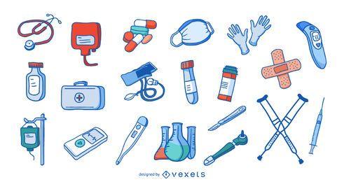Coleção de elementos hospitalares