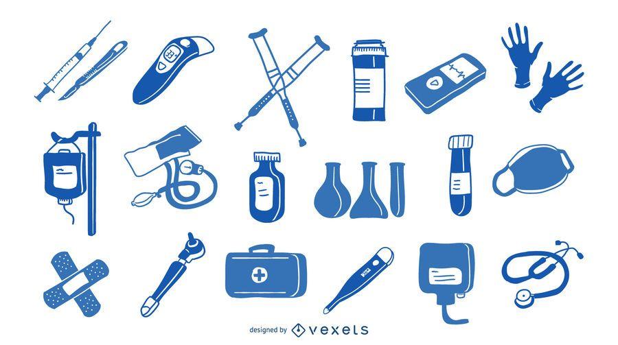 Coleção azul de elementos hospitalares