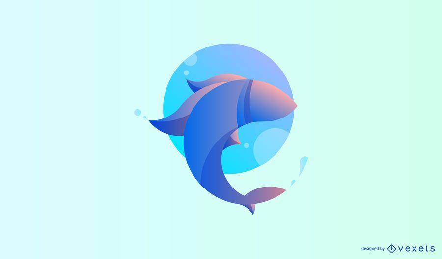 Moderne Fischlogoschablone