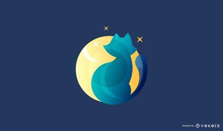Modelo de logotipo de gato moderno
