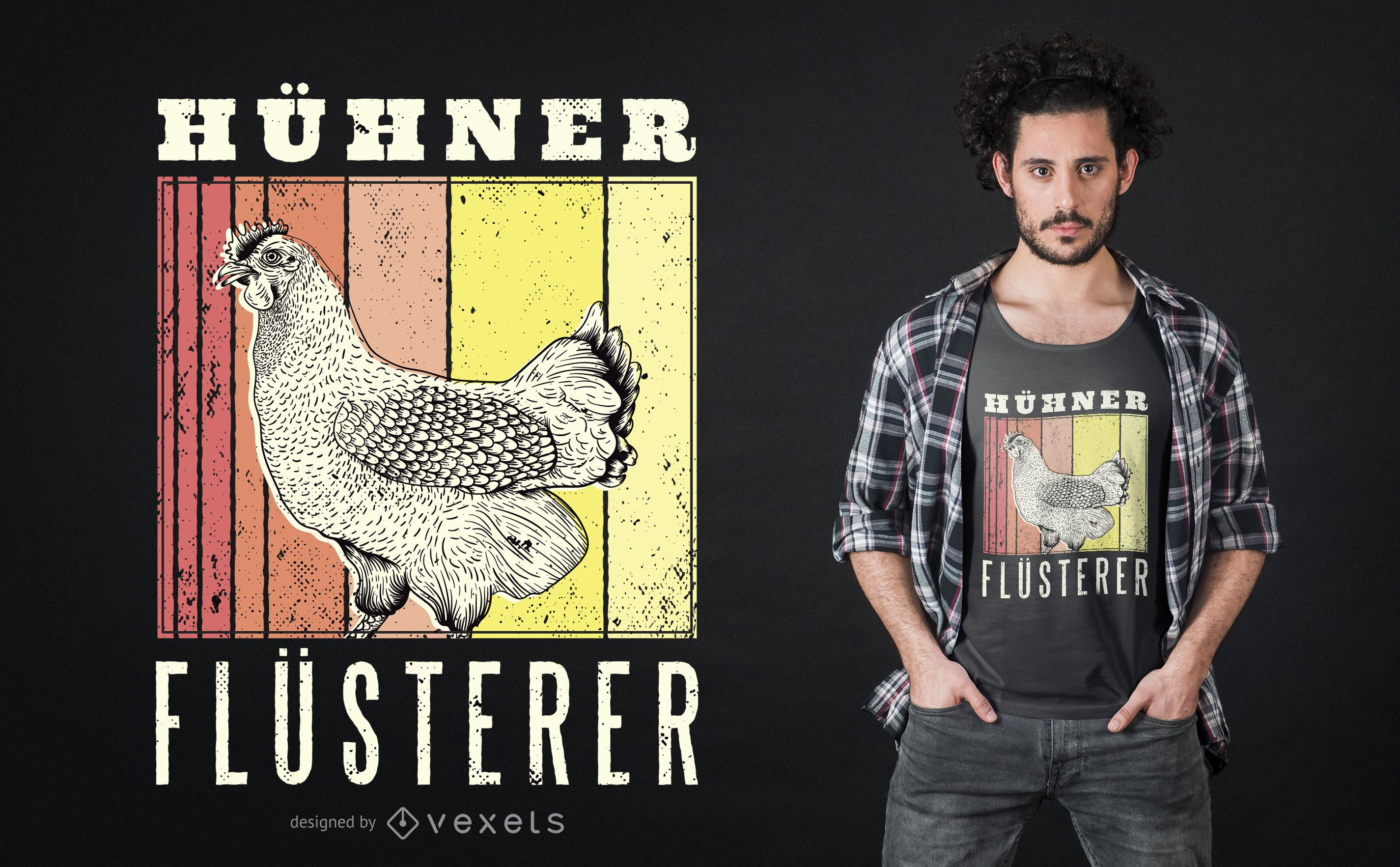 Design de t-shirt alemã Whisperer de frango