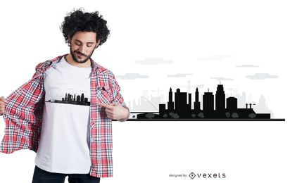 Design de t-shirt do horizonte de Kansas