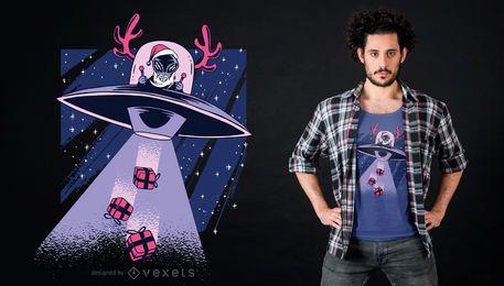 Diseño de camiseta alien santa