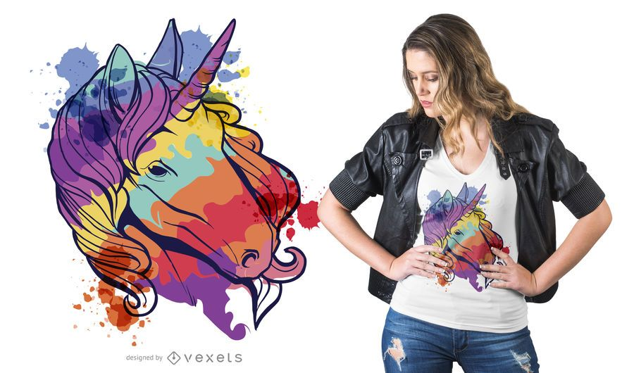 Diseño colorido de camiseta de unicornio