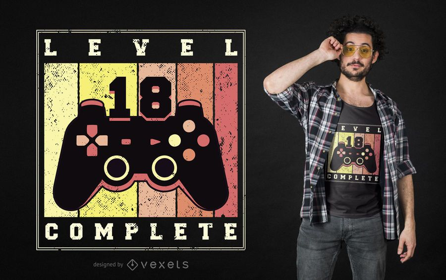 Level komplett bearbeitbares T-Shirt Design