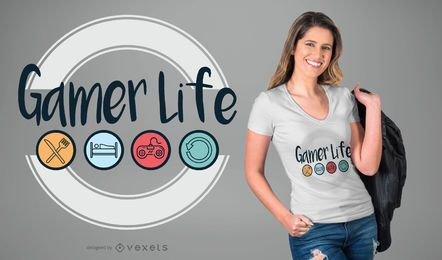 Diseño de camiseta gamer life