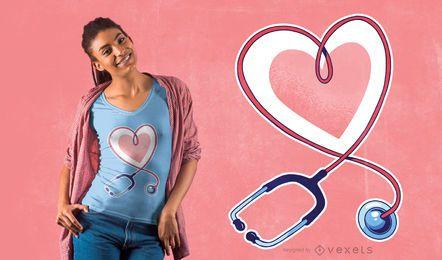 Design de t-shirt com coração estetoscópio