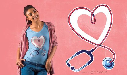 Stethoscope Heart T-shirt Design