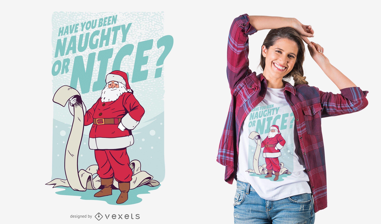 Santa Naughty Nice List T-shirt Design