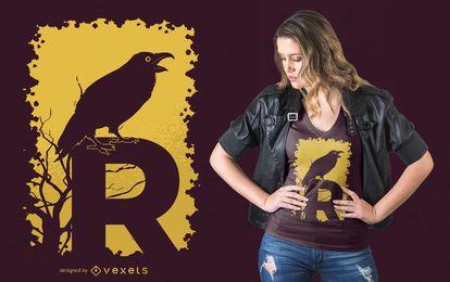 Design de t-shirt de letra R de corvo