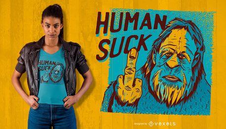 Bigfoot-Mensch saugen T-Shirt Entwurf