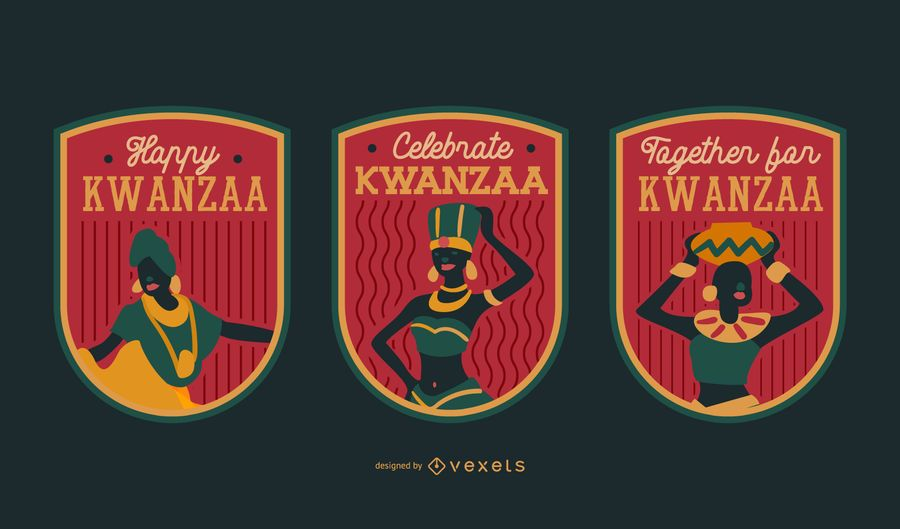 Kwanzaa badges editable set
