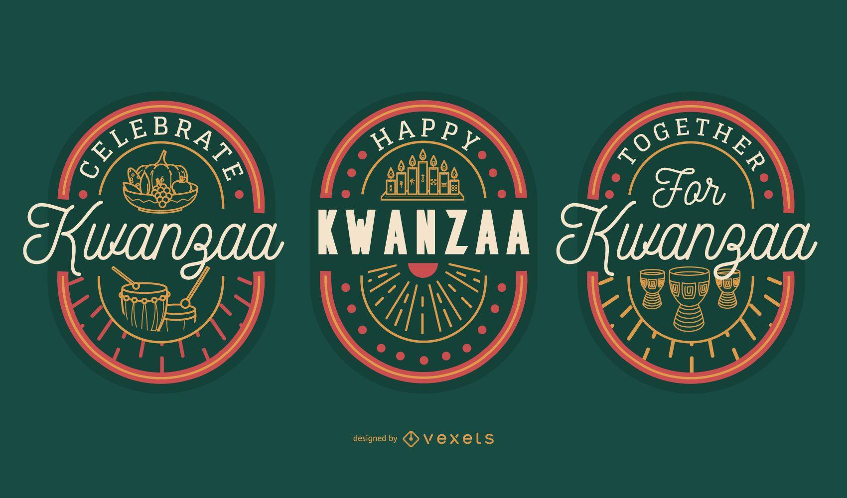 Kwanzaa editable badges