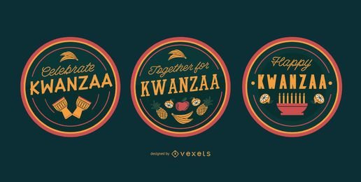 Emblemas editáveis do kwanzaa feliz
