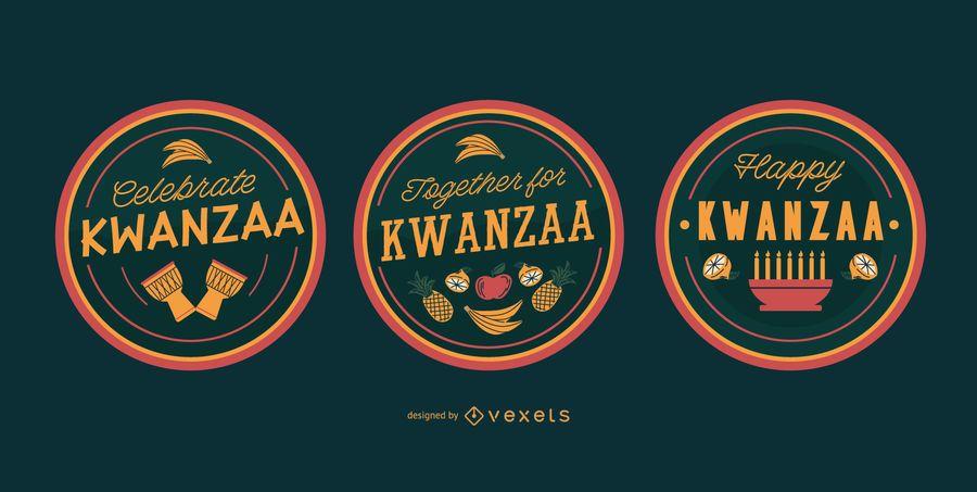 Felices insignias editables de kwanzaa