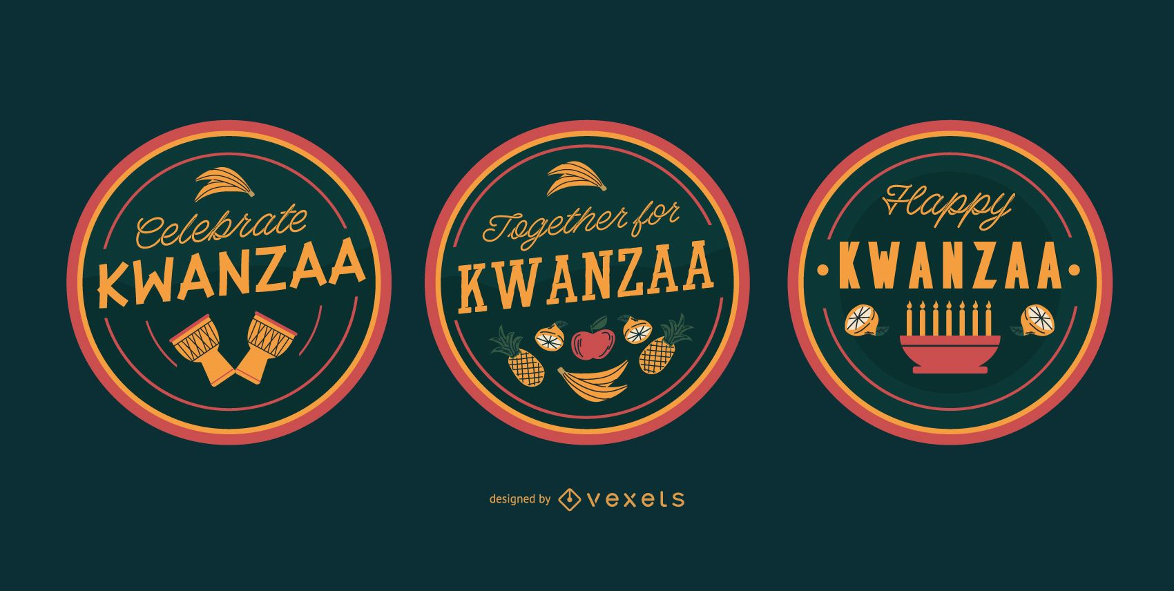 Happy kwanzaa editable badges