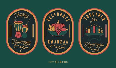 Celebrate kwanzaa editable badges