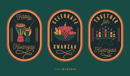 Comemore os emblemas editáveis do kwanzaa