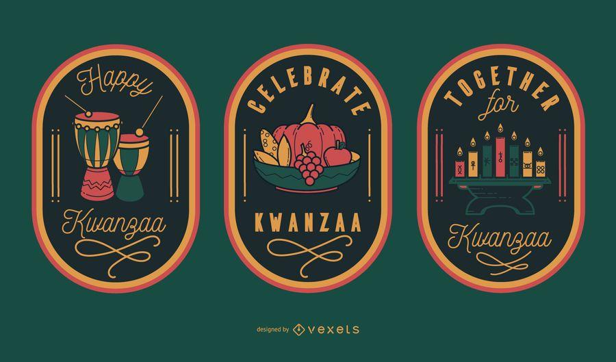Celebra las insignias editables de Kwanzaa