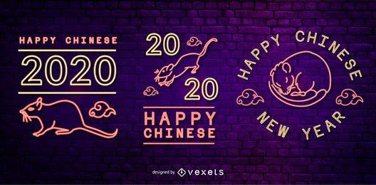 Conjunto de insignias de neón de año nuevo chino