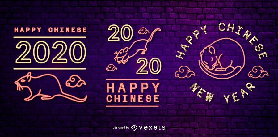 Conjunto de emblema de néon do ano novo chinês
