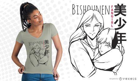 Projeto do t-shirt do fangirl de Bishounen