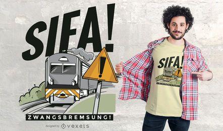 Design de camisetas com citações alemãs do trem