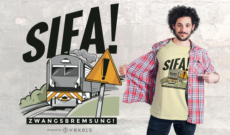 Diseño de camiseta de cita alemana de tren