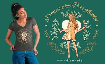 Diseño de camiseta Princess German Quote