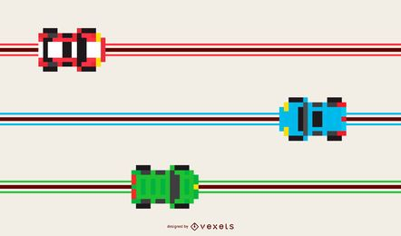 Pixel Toy Race Track Cars Design
