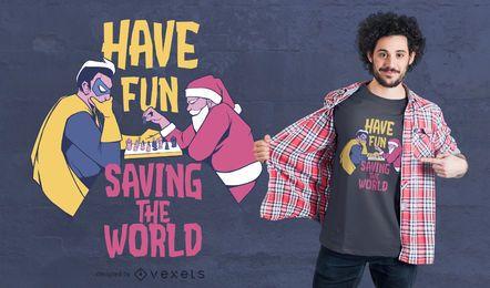 Design de t-shirt de xadrez de herói de Papai Noel