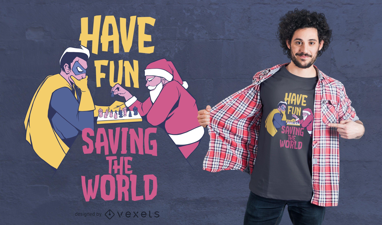 Santa hero chess t-shirt design