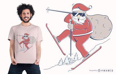 Design de t-shirt de esqui de Papai Noel
