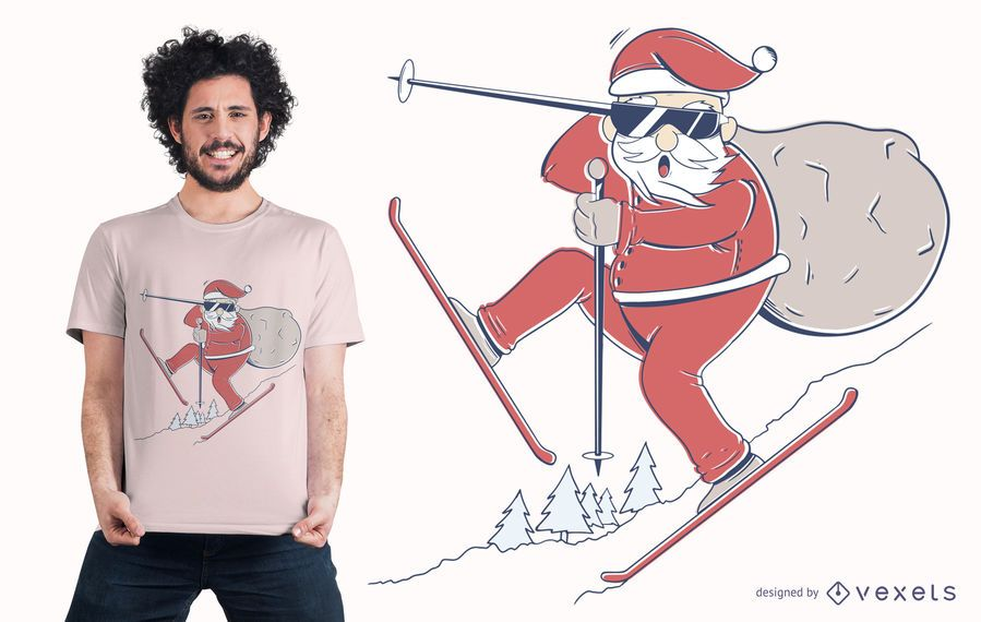Santa Ski T-Shirt Design