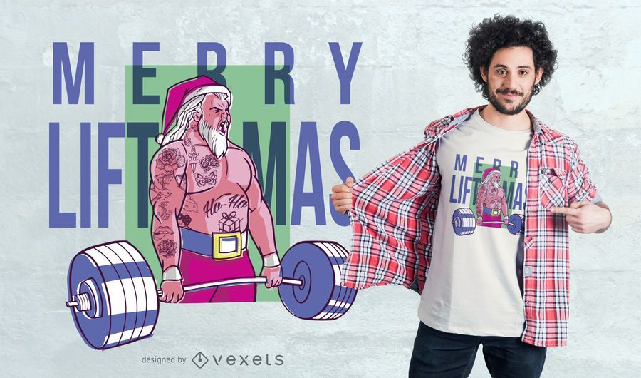 Merry liftmas tattoo t-shirt design