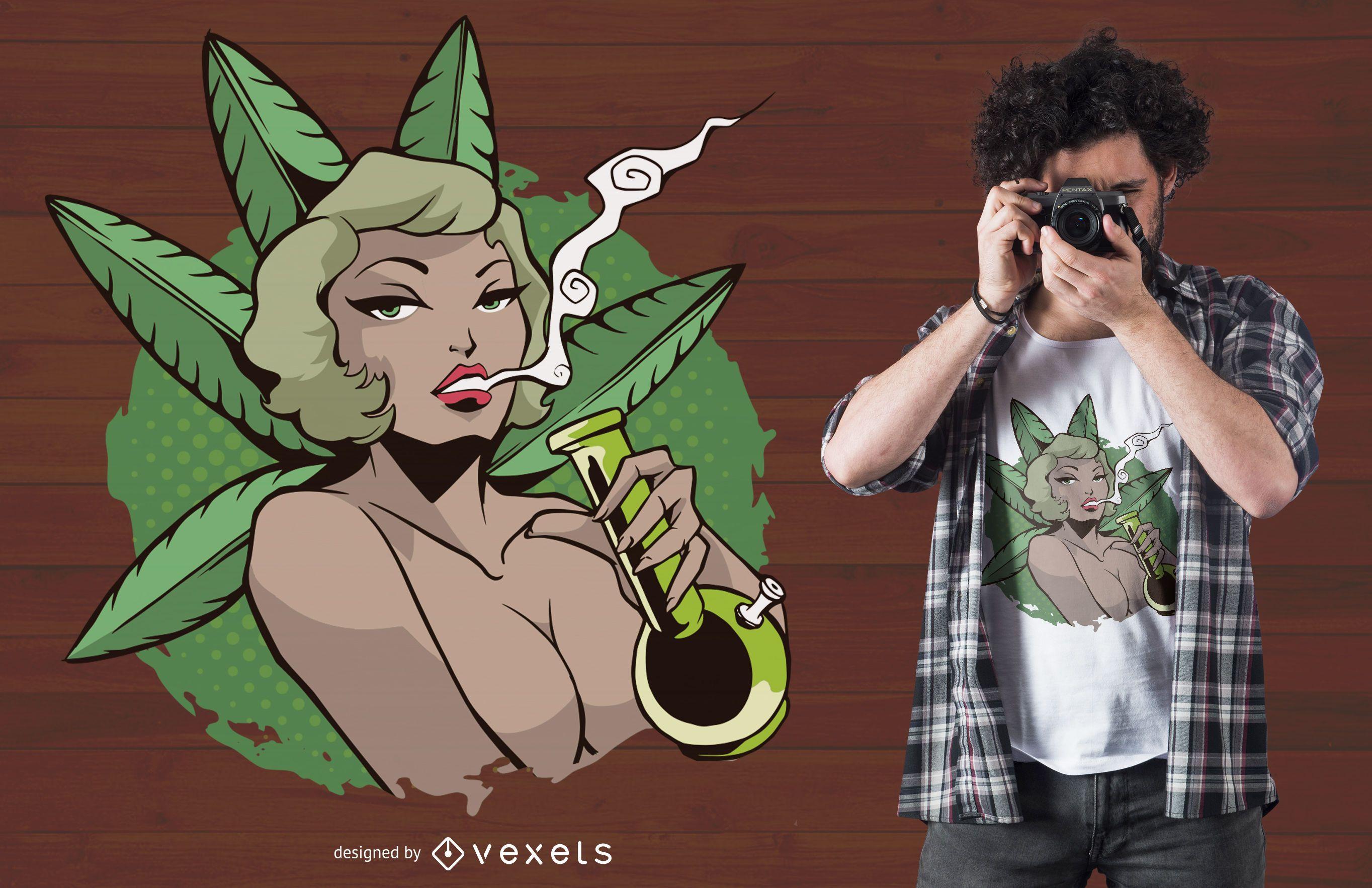 Diseño de camiseta mujer fumando bong