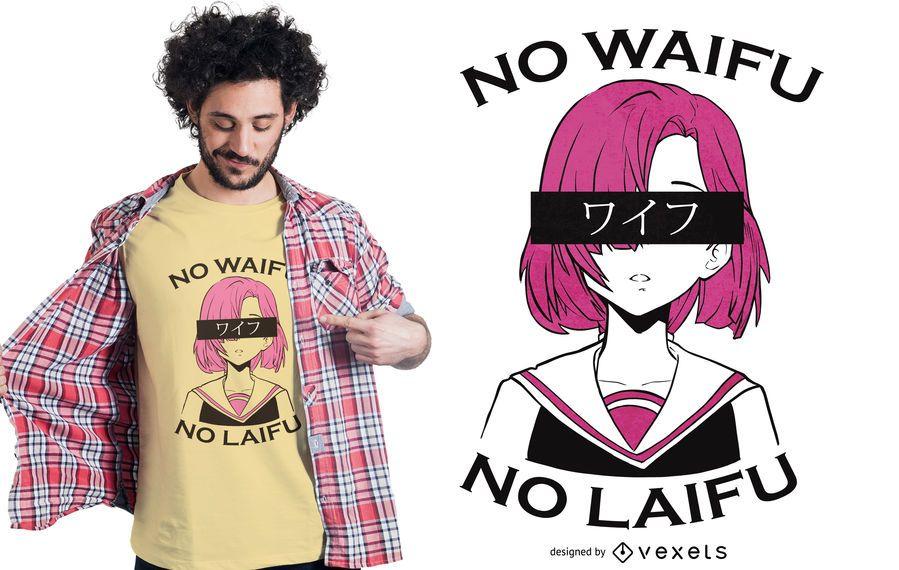 Nenhum design de camiseta waifu