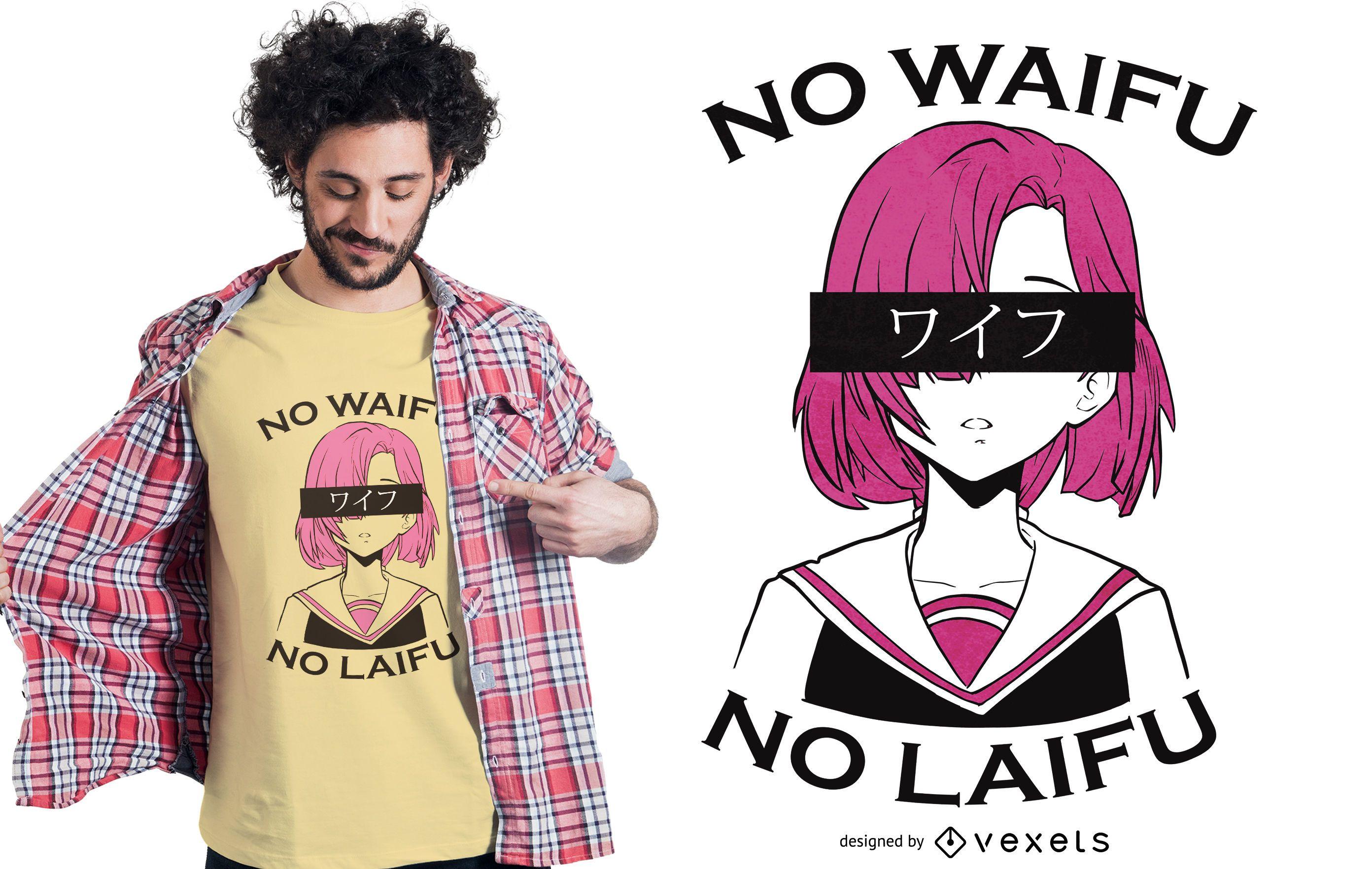 Sin diseño de camiseta waifu