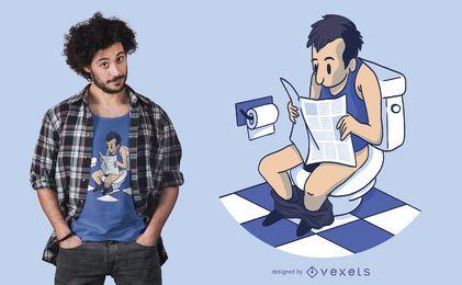 Diseño de camiseta de hombre en el baño