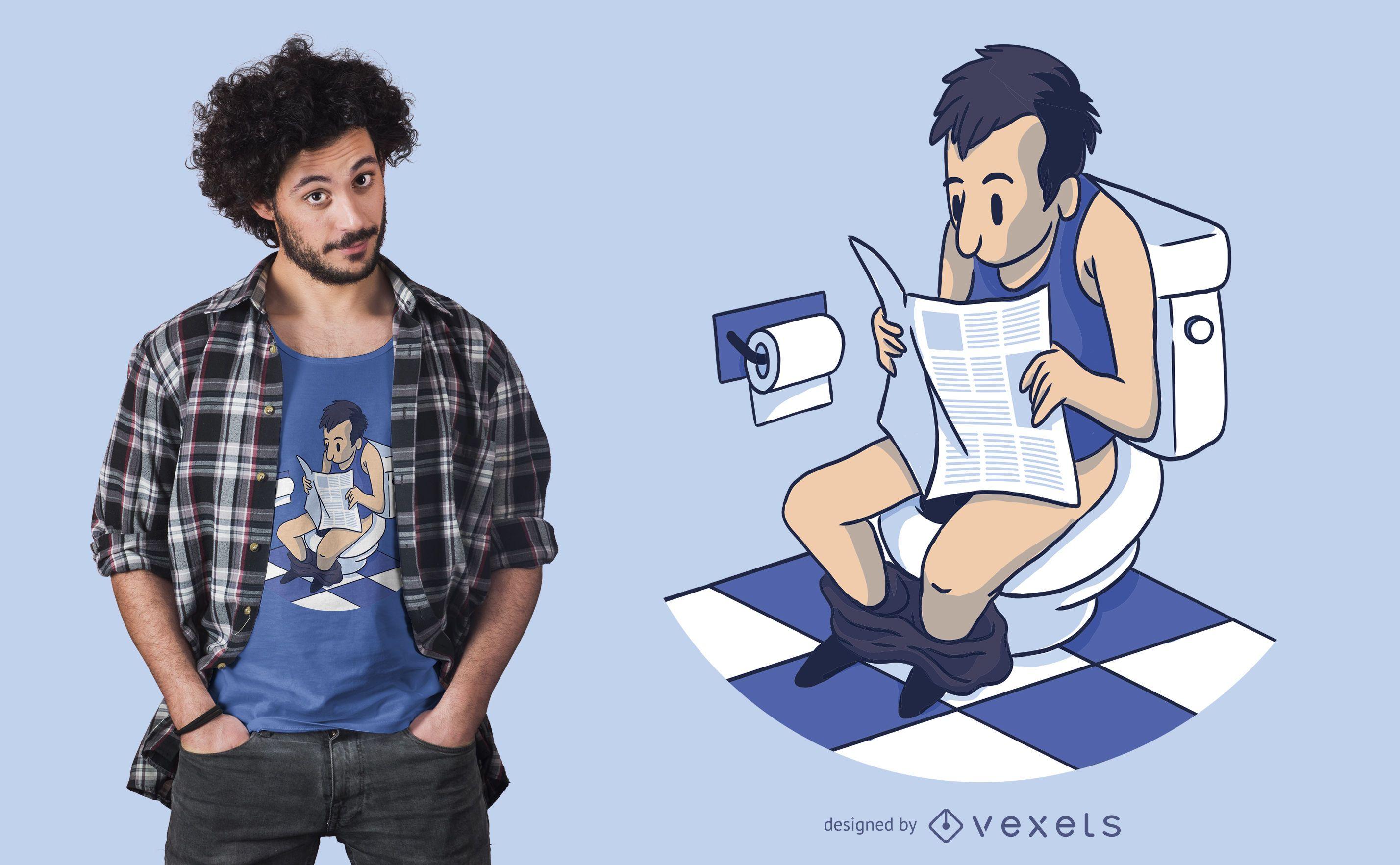 Man at toilet t-shirt design