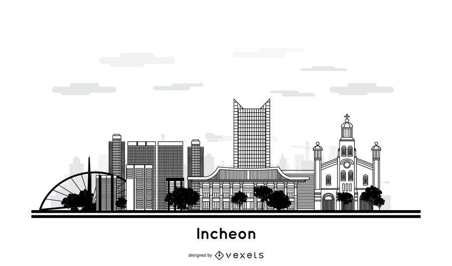 Diseño del horizonte de la ciudad de Incheon