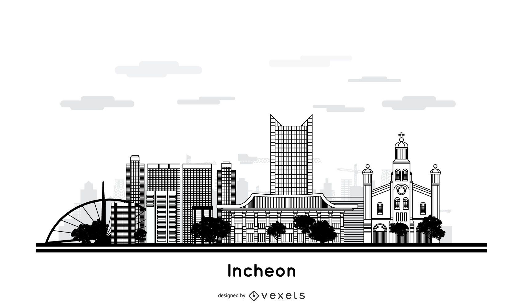 Projeto do horizonte da cidade de Incheon